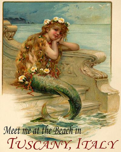 POSTER MERMAID SIREN MEET AT BEACH TUSCANY ITALY TRAVEL VINTAGE REPRO FREE S//H