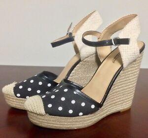 f4d2328bad6 Lucky Brand Reandra Shoes Size 9M Polka Dot Black White Wedge ...