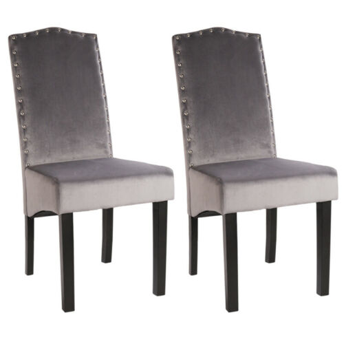 2/4PCS Velvet Fabric Dining Chair Button Back Occasional Knocker Nailhead Chairs