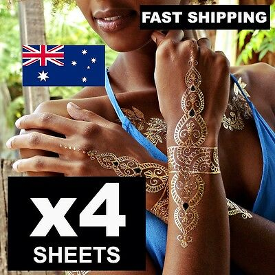 4 Qty FLASH Large (21X15CM) Metallic Gold and Silver Jewellery Temporary Tattoos