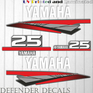 Details about Yamaha 25 HP Two 2 Stroke outboard engine decal sticker kit  reproduction 25HP