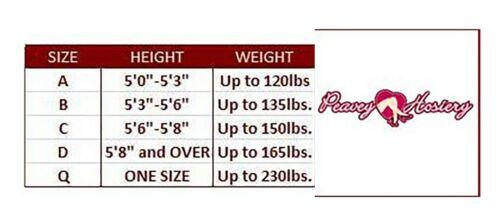 PEAVEY PANTYHOSE 20 Denier Compression Hooters Hosiery//Nylons Sizes A B C D Q
