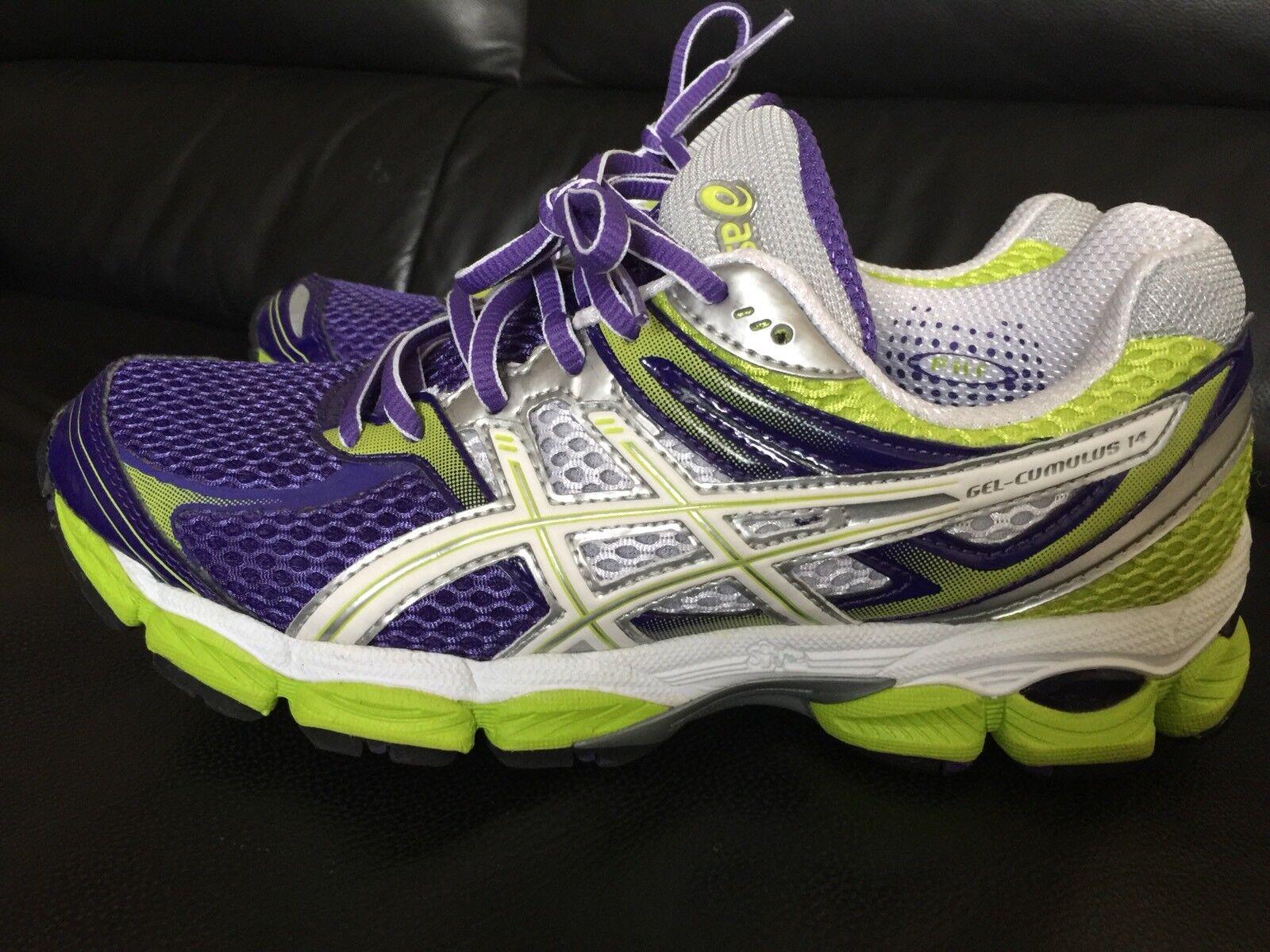 ASICS Gel Cumulus Running 14 T296N Purple Lime Running Cumulus Shoes 7.5 7549f4