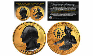 24K-GOLD-Plated-2-Sided-1976-Bicentennial-Quarter-with-Black-RUTHENIUM-Features