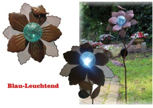 Solar LED Gartenstecker Metal Blume 4 Farben  Gartendeko 90 cm Solarleuchte