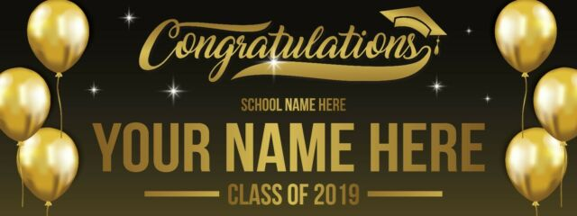 Personalized Graduation Banner Black