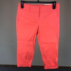 Ann-Taylor-Women-039-s-Signature-Cropped-Capri-Cuffed-Pants-8P-Pink-Cotton-Blend-NWT