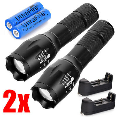 2x90000Lumen Tactical T6 LED Flashlight Torch Rechargeable 18650 Battery&Charger