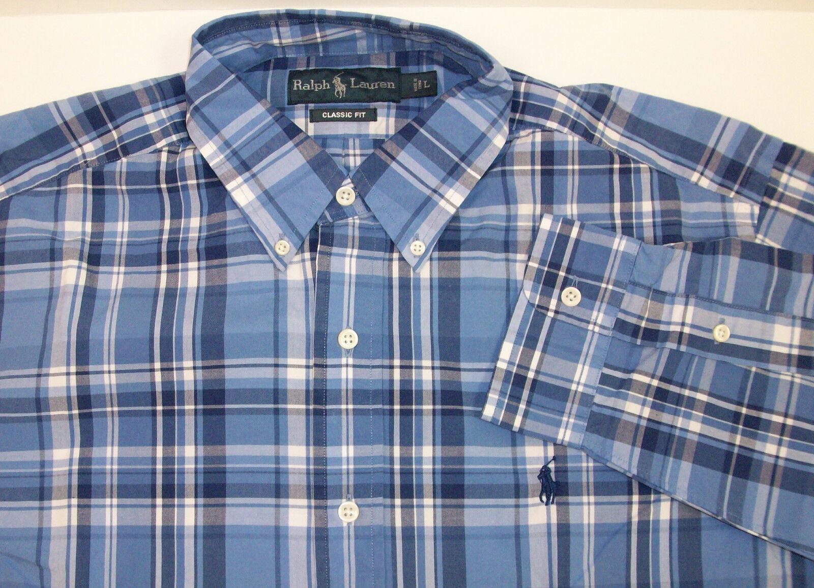 Polo Ralph Lauren Classic Fit Woven Plaid LS Shirt bluee White -95 W  Pony NWT