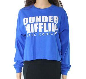 The-Office-Womens-Top-Blue-Size-Medium-M-Knit-Raw-Hem-Long-Sleeve-Cotton-38-725