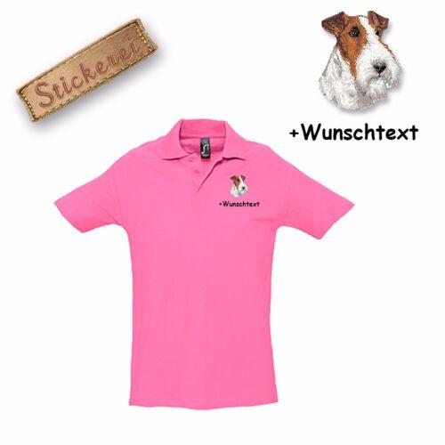 Camisa polo shirt algodón bordadas bordado fox terrier deseo de texto