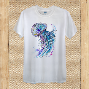 Jelly Fish T-shirt Design Watercolour Summer 100/% Cotton unisex women fitted