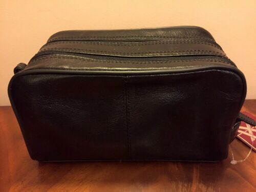 Quindici Homme Doux Noir Large Cuir Toiletry Wash Sac RRP 90.00 afficher le titre d'origine