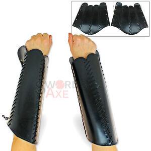 Ensoleillé Live-action Gn Squire Greaves Leg Armor Ou Bracelets Bras Armure Pleather Black-afficher Le Titre D'origine Douceur AgréAble