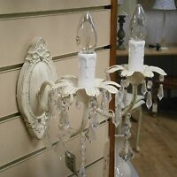 2 X Shabby Chic Cream Wall Lamps With Droplets