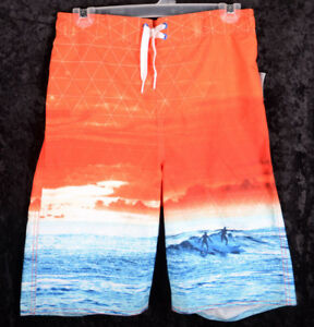 35effd2113c0 Kids OLD NAVY Boys Swim Suit Trunks Blue White WAVES UPF 50 Size XXL ...