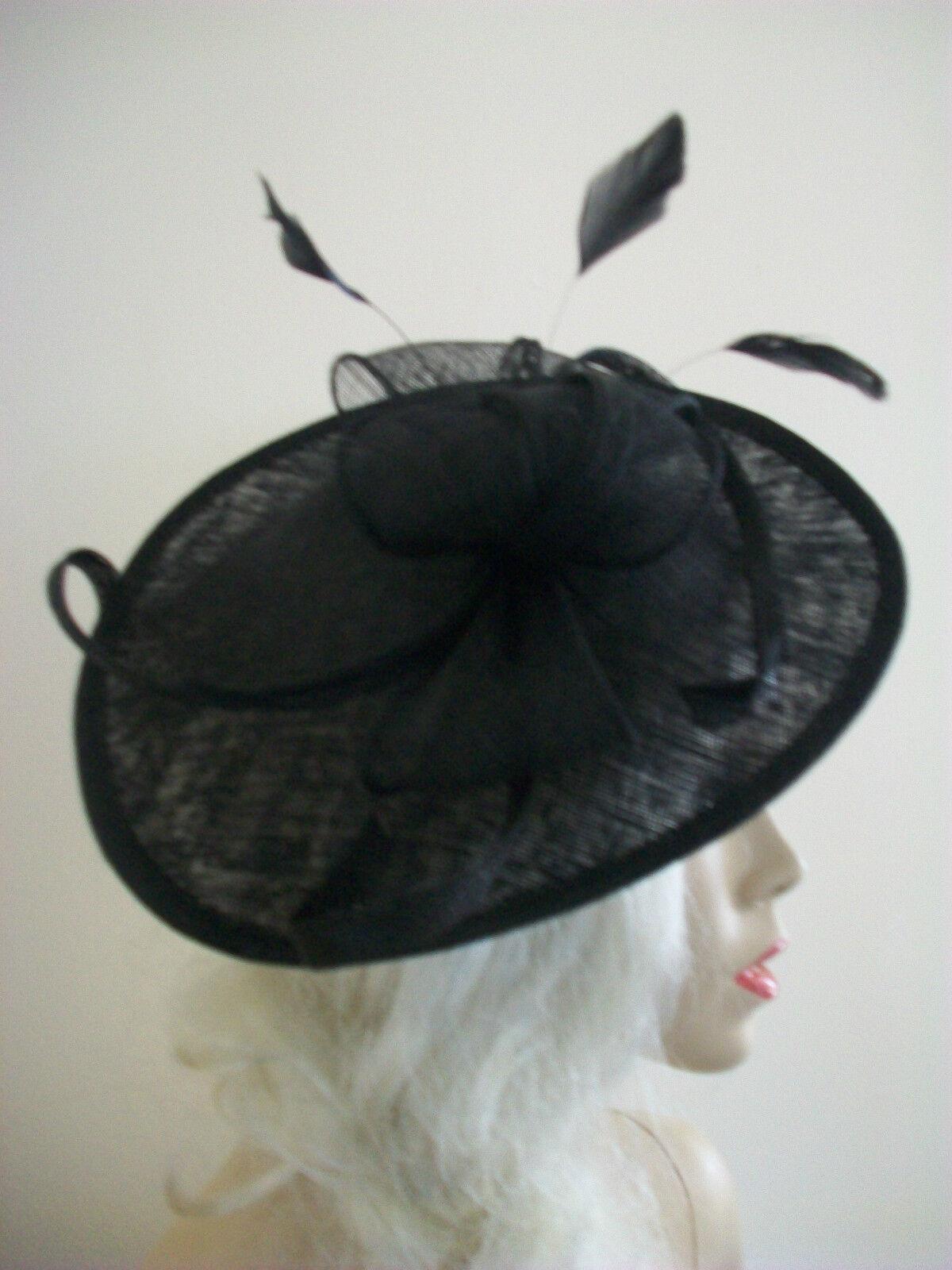 Black Fascinator Feather Wedding Saucer Hat Formal Ladies Womens Hatinator Disc