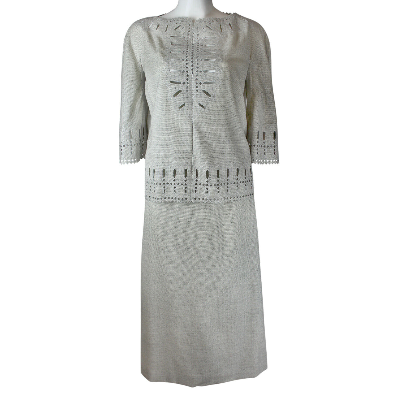 Authentic VALENTINO BOUTIQUE Vintage grau Cut Out Detail Wool Set 6 XS S BNWT