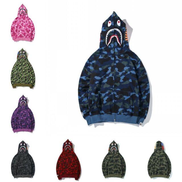 New Bape Ape SHARK Head Japan Camo Hoodie Youth Hat Jacket Coat Full Zip Lovers