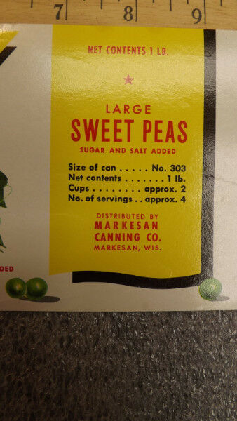 Vtg TRIPOD Sweet Peas Vegetable//Can Goods Label Markesan Canning Wisconsin