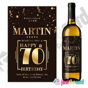 Image Is Loading 70th Birthday Personalised Wine Label Gift