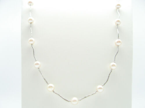 """925 Silver 35/"""" 90cm Real Cultured Freshwater Round Pearl Chain Drop Necklace"""