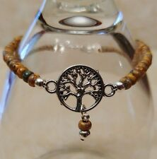 """Native American Bracelet Picasso Seed & Silver Beads """"Tree of Life"""" Cherokee"""
