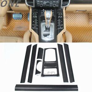 9Pcs for 10-17 Porsche Cayenne 3K Carbon Fiber Interior Trim Center Panel Cover