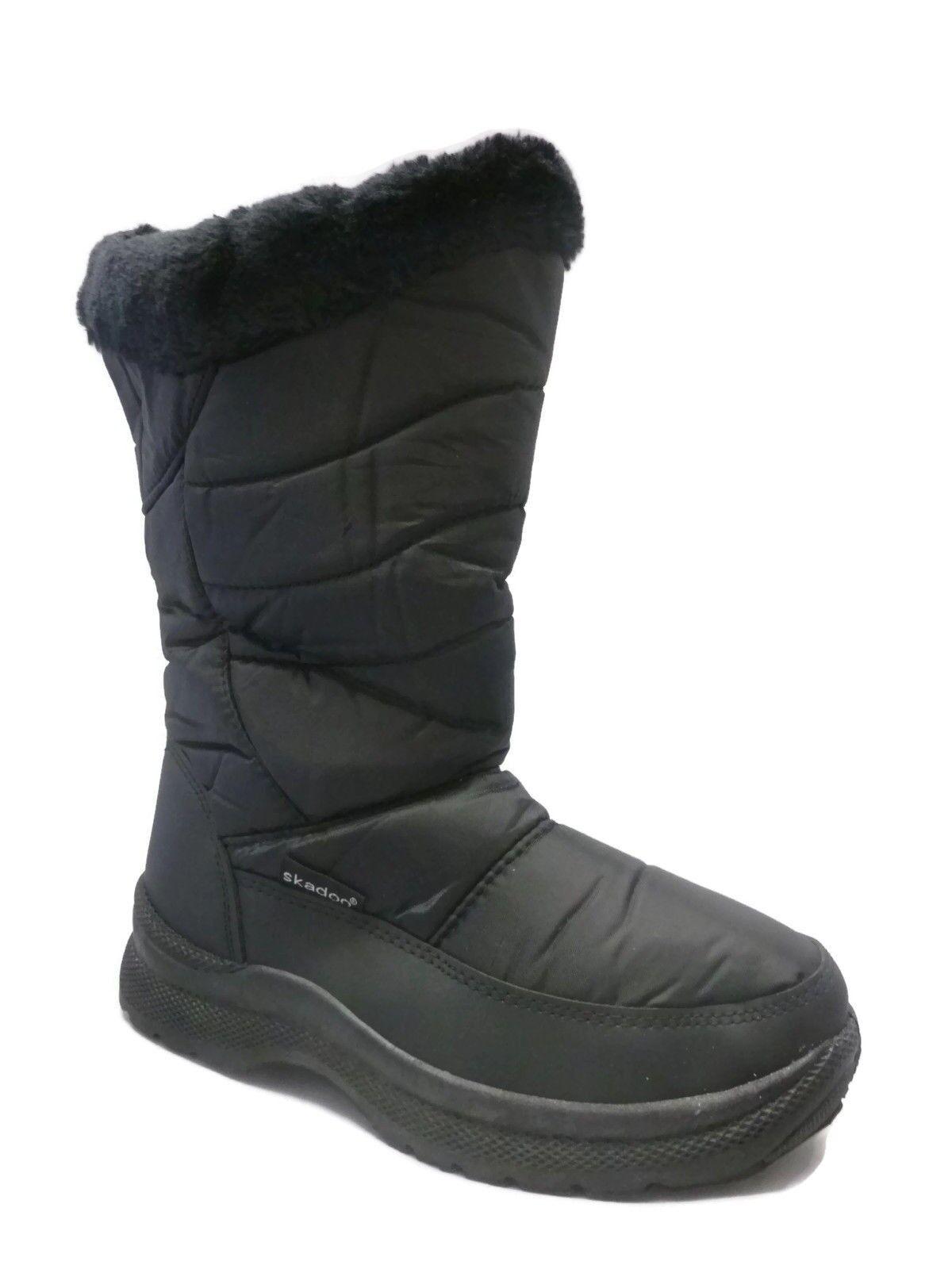 Damen Schwarz Schnee Stiefel Skadoo Winterstiefel Größen 5-11 Wasserdicht Und