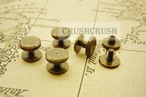 10sets13-64-034-5mm-Chicago-Screw-Button-Studs-Screwback-Antique-Brass-Craft-Y016