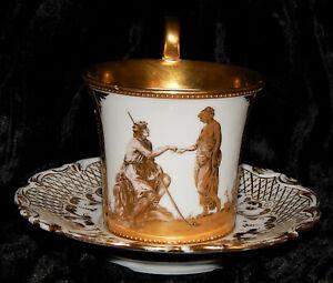 antike TASSE FÜRSTENBERG Abt. DRESDEN Bildermalerei Goldstaffage Handmalerei