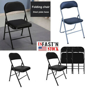 Enjoyable Details About 1 2 4Pcs Folding Chairs Fabric Upholstered Padded Seat Metal Frame Pdpeps Interior Chair Design Pdpepsorg