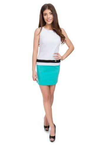 Womens Sleeveless Mini Dress Boat Neck Plain Summer Tunic Slim Fit S-2XL 9001