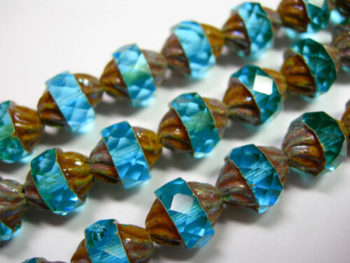 14 11x10mm Czech Glass Faceted Aqua Picasso Turbine Beads