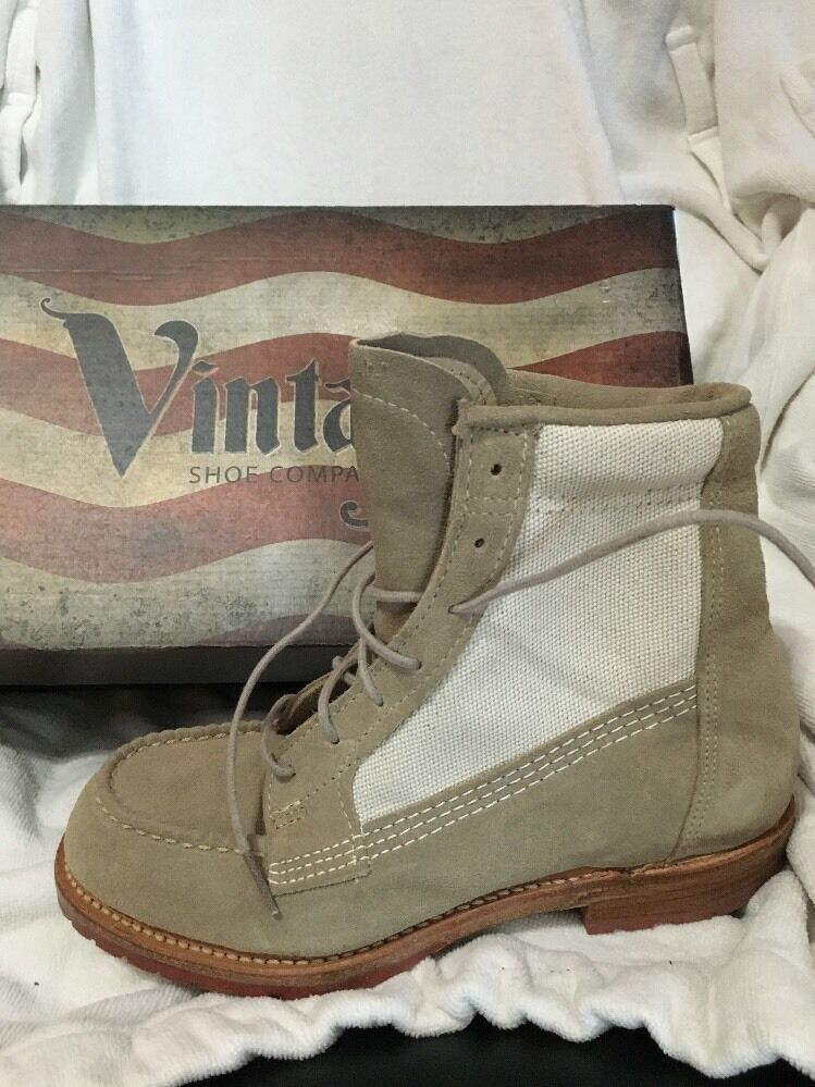 Womens Size 6 Vanessa Stone white Canvas Mic Toe Lace Up Boot