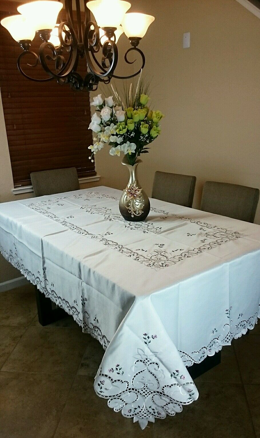 72x144  Embroidery Handmade Rosebud Embroiderouge Tablecloth Napkins Elegant linen