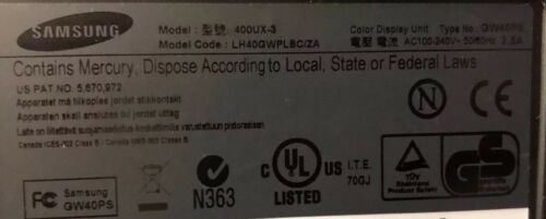 "Samsung 400UX-3 40"" LH40GWPLBC//ZA Professional Display Signage VideoWall Monitor"
