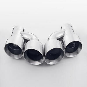 """Paid 3/"""" In Quad 3.5/"""" Out Dual Wall Straight Cut Exhaust Tips 304 Stainless Steel"""
