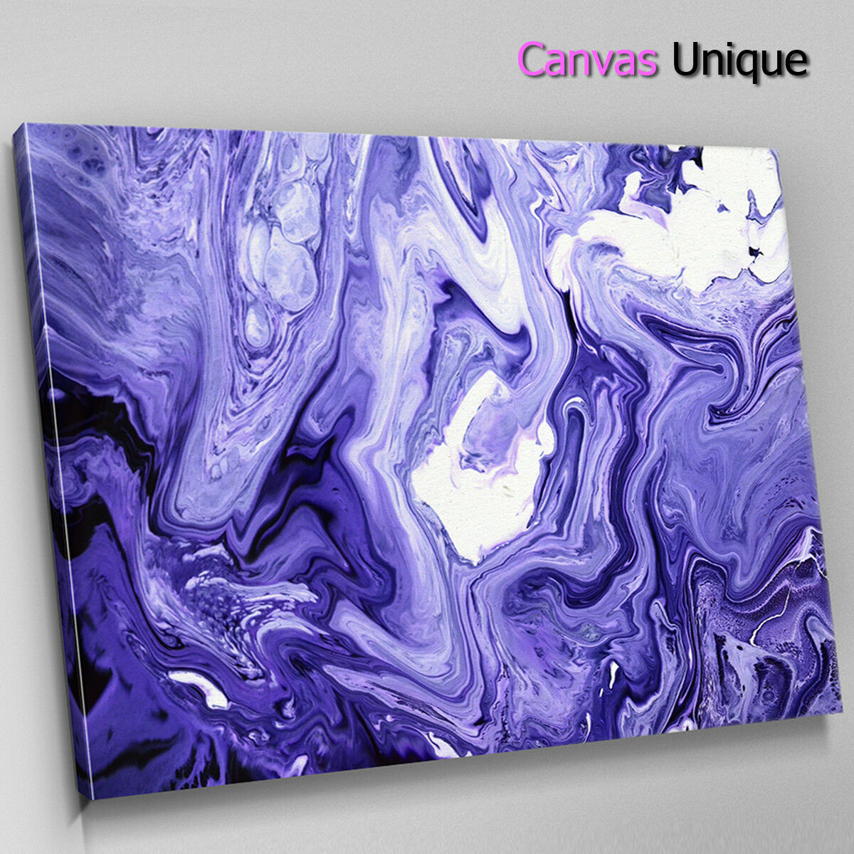 AB1738 lila Weiß paint swirl Abstract Wall Art Picture Large Canvas Print