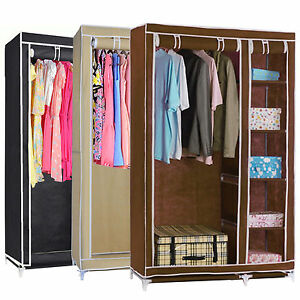 Captivating Image Is Loading DOUBLE FABRIC CANVAS CLOTHES STORAGE ORGANISER WARDROBE  CUPBOARD