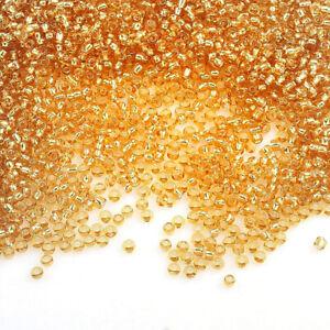 Rocailles-Perlen-2mm-Glas-Gold-Silbereinzug-450g-Schmuck-Basteln-Seed-Beads-A12
