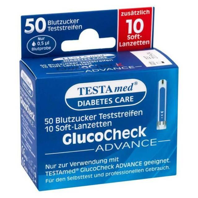 Testamed Glucocheck Advance Teststreifen mit 10 Lanz. · 1 P · PZN 13331394