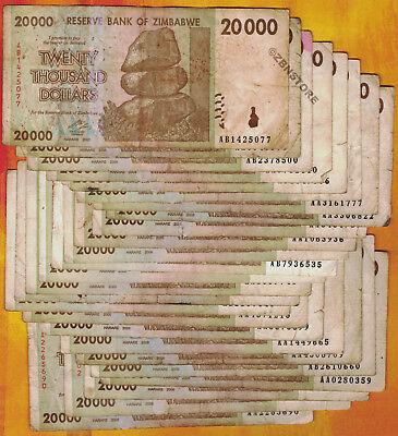 25 x Zimbabwe 20,000 dollar banknotes-money currency 1//4 bundle