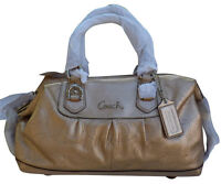 COACH ASHLEY PERFORATED GOLD LEATHER SATCHEL BAG PURSE 17130 NWT F/S $428