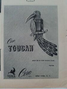 1943-Coro-Tucan-Ave-Figural-Broche-Vintage-Joyeria-Anuncio