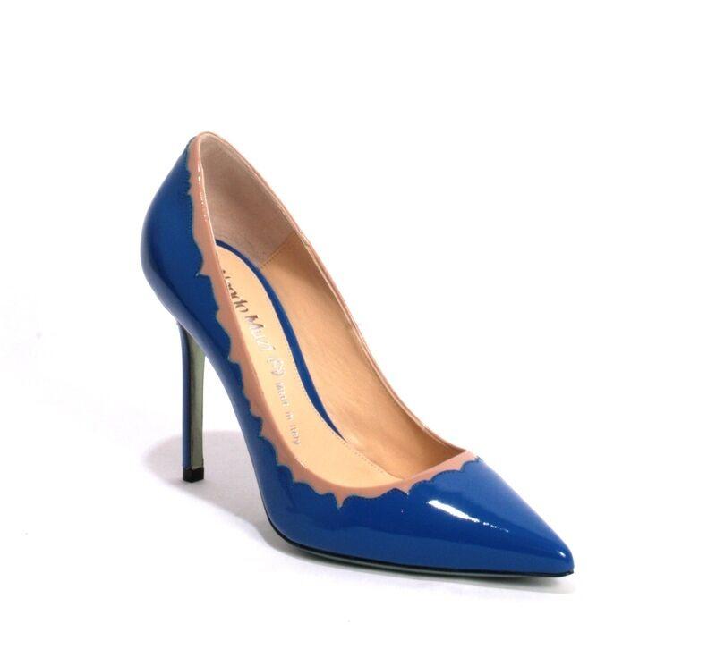Nando Muzi 147 Royal bluee   Beige Patent Leather Pointy Pumps 36   US 6