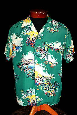 "Analitico Rare 1950's Made In Hawaii "" Etichettato Rayon Kobe Crepe Camicia Hawaiana"