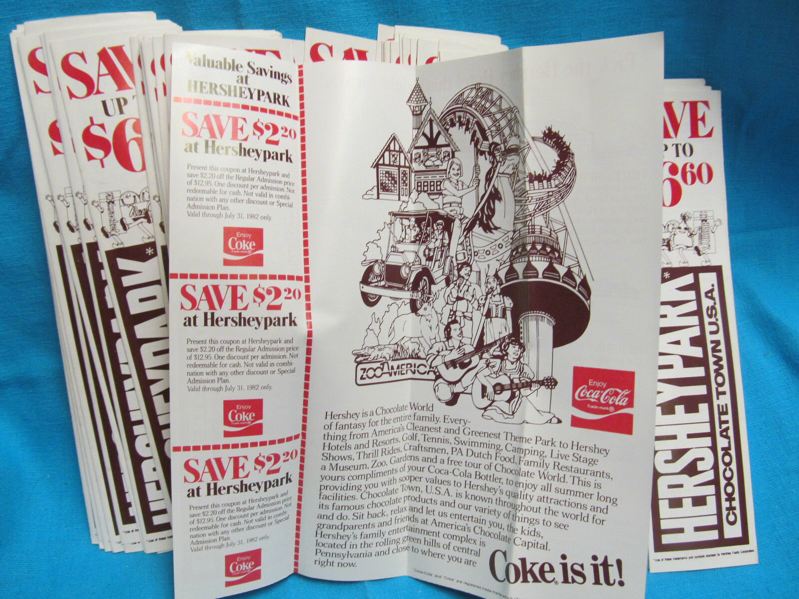 1982 COCA COLA COKE /& DUTCH WONDERLAND LANCASTER PA ADVERTISING BOTTLE HANG TAG