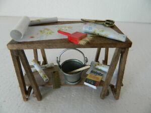 Franc (hh12) échelle 1/12th Maison De Poupées Handmade Coller Table Avec Accessoires-afficher Le Titre D'origine Et D'Avoir Une Longue Vie.