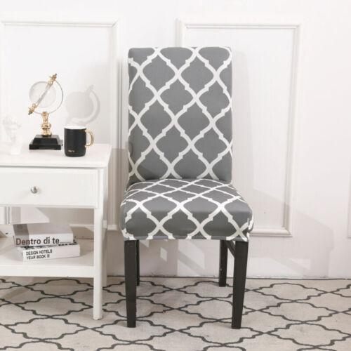 Silla de comedor cubre respaldo Alto Gris Negro Slipcover Boda Hogar Decoración Cubierta de asiento